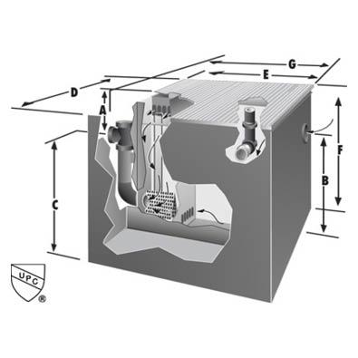 Rockford Separators OSTL-DW Series Oil Separator Dimensional Image
