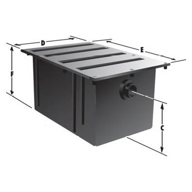 Rockford Separators R-Poly Series Commercial Plastic Grease Interceptor Dimensional Image